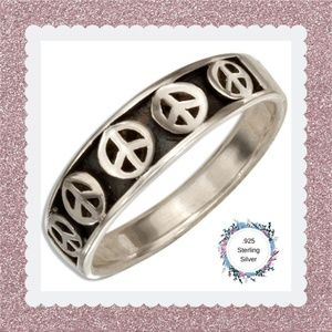 Sterling Silver Tapered Peace Sign Ring